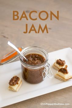 Crockpot Bacon Jam Recipe from Chili Pepper Madness. Spread it on cheese or bread for a snack, or make a sandwich.