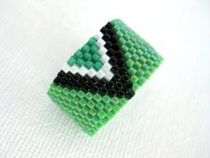 Peyote Ring Green Emerald Seed Bead Band by MadeByKatarina on Etsy