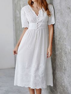 White Long Dress Cotton Eyelet Embroidered Half Sleeves V Neck Button Maxi Dress Spring Dresses Casual, Summer Dresses, White Dress Casual, White Dress Outfit, White Eyelet Dress, Navy Dress, Gold Dress, Holiday Dresses, Half Sleeve Dresses