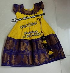 To order WhatsApp 9150144329 Yellow and violet Kids sungudi frocks Can be customized in any colours and models Combo dresses available Indian Dresses For Kids, Dresses Kids Girl, Kids Frocks Design, Baby Frocks Designs, Kids Dress Wear, Kids Gown, Baby Girl Frocks, Frocks For Girls, Baby Girl Dress Patterns