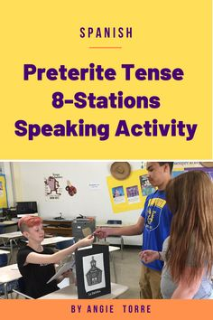 Spanish preterite Tense 8-Stations serves as a culminating activity for the Preterite tense. Have you ever wished you could multiply the teacher's presence in a classroom of 30 plus students in order to give your language learners more opportunities to hear and speak the language? This activity provides 8 more teachers and keeps students communicating in Spanish for an entire class period as they proceed from one station to the next asking and answering questions.  And they BEG to do it…