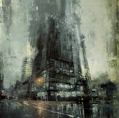 Rainy city painting by Jeremy Mann - Amazing and beautiful painting of a cityscape on rainy day by Jeremy Mann -- cool art. Art Et Architecture, Chinese Architecture, Architecture Details, Fine Art, Urban Landscape, Landscape Art, Landscape Paintings, Amazing Art, Awesome