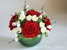 Bouquet of red roses and apple trees - Fito-Art.ru
