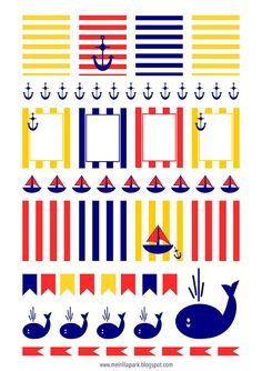 Free printable nautical planner stickers : striped - Etiketten - freebie | MeinLilaPark – DIY printables and downloads