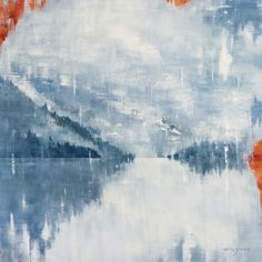 """SOLD - """"Thinking of our time together"""" Original Gina Sarro acrylic on canvas 48 x Abstract Landscape, West Coast, Mists, Vancouver, Ocean, The Originals, Canvas, Water, Artist"""