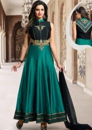 Party Wear Satin Green Embroidered Work Anarkali Suit