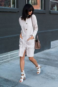 spring outfit, summer outfit, casual outfit, night out outfit, street style, street chic style, trench coat outfit - beige trench coat, white lace up sandals, taupe shoulder bag, aviator sunglasses
