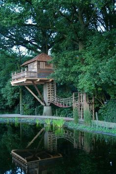 Tree House Cabin in Keerbergen, Belgium Future House, Haus Am See, Cool Tree Houses, Tree House Designs, Cabins And Cottages, Play Houses, Dream Houses, My Dream Home, Tiny House