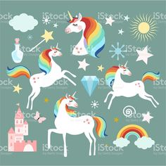 Find Unicorn Fairy Magic Elements Collection Isolated stock images in HD and millions of other royalty-free stock photos, illustrations and vectors in the Shutterstock collection. Kids Graphic Design, Unicorn And Fairies, Unicorn Illustration, Kids Wallpaper, Illustrations, Free Vector Art, Royalty Free Images, Character Design, Fairy