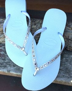 1b450afbfa3f Havaianas Slim White Crystal Rhinestone Beach Wedding Flip Flops Blushing  Bride Custom w  Swarovski jewels Beach Bridal Bling Reception Shoe