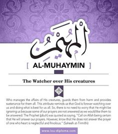 Why worry when you have Allah, Al Muhaymin with you to protect you? Asma Allah, Islamic Online University, Why Worry, Beautiful Names Of Allah, Allah Names, Allah God, Greatest Mysteries, Names Of God, True Religion