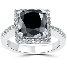 4.71 CT.Cushion Cut Black Diamond Engagement Ring 14k White Gold Vintage Style #LioriDiamonds #DiamondEngagementRing