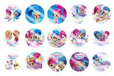 """Shimmer and Shine 1 inch digital bottle cap images, 4"""" x 6"""""""