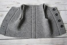 Best 11 This baby vest is made from of wool, acrylic yarn. It features four buttons for closure The waistcoat is warm, cosily soft and comfortably lightweight. Pictured color: gray Please select desired color and size. Made to order. The baby vest Baby Knitting Patterns, Baby Patterns, Baby Pullover, Easy Knitting, Garter Stitch, Baby Booties, Creations, Diy Baby, Baby Shower