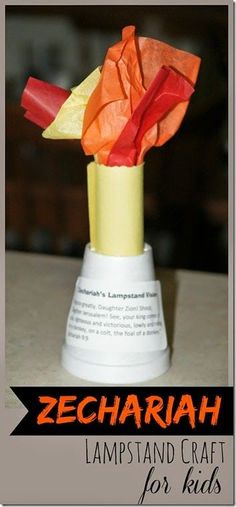 Zechariah Lampstand Craft for Kids - This is such a fun Bible Craft for Old Testament Sunday school lessons. This is a great activity for preschool, kindergarten, 1st grade, 2nd grade, 3rd grade, and 4th grade kids.
