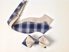 Sand linen with navy plaid Bow Tie - Diamond Point - Freestyle - Tie it yourself bow tie - beige linen bow tie- men's linen bowties on Etsy, $20.00