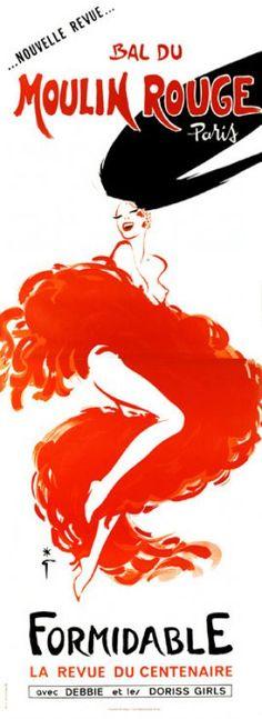 Bal du Moulin Rouge Paris, Nouvelle revue. Formidable, la Revue du Centenaire avec Debbie et les Doriss Girls Gruau Rene / 1988