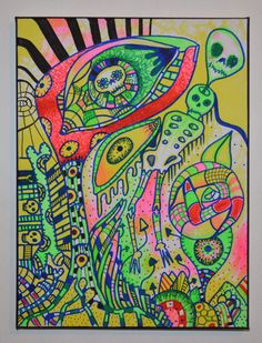 New Gothic Psychedelic Art,Ultra Violet Reactive Painting,Bright Green,Pink,Yellow,Original Creepy Cute Art,Original Patterned Psychobilly by ShelleyJamaineArt on Etsy