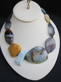 YARA-Chunky/Jasper/Stone/Bold/Agate/Collar/Statement Piece Necklace