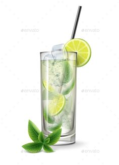 Mojito Cocktail with Fresh Sliced Lime