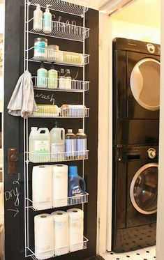 Love this idea (for storing extra paper towels and cleaners in our linen closet).