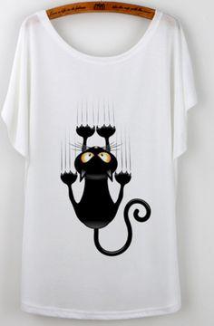 Funny Cat Design T-Shirt Short Sleeves