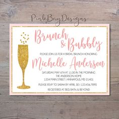 Brunch And Bubbly Shower Invitation Bridal by PinkBayDesigns