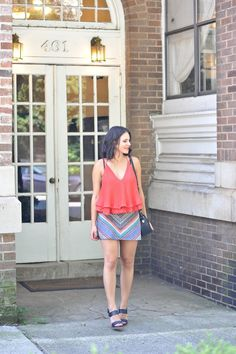 My Style Vita - A Fashion and Lifestyle Blog. Red ruffled tank top+colourful mini skirt+black ankle strap heeled sandals+black shoulder bag. Summer outfit 2016