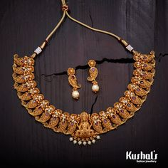 Beautifully crafted #antique Lakshmi necklace with #white stones and plated with gold polish