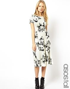 Enlarge ASOS TALL Midi Skater Dress In Mono Floral