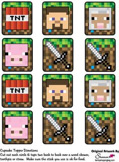 Cupcake Decorations, Minecraft, Party Decorations - Free Printable Ideas from Family Shoppingbag.com