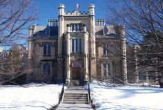 trafalgar castle in whitby, near toronto, this was the largest house in canada. built in white brick and stone, in the elizabethan style. Residential Schools, Residential Architecture, Castle School, Durham Region, Famous Castles, Brick And Stone, Abandoned Mansions, Cathedrals, Young Women