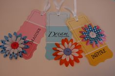 paint chip bookmarks | Punched and flowered