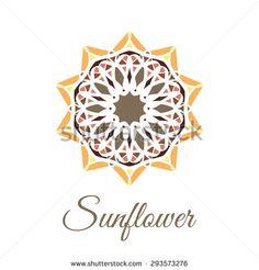 Vintage ornamental circular flower logo. Colorful sunflower brown yellow orange gold art mandala. Business style.