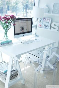 Love the idea of a very clean and white home office.