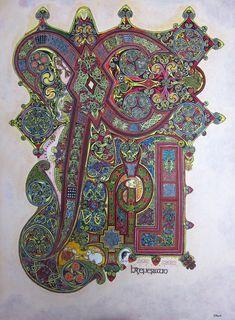 Book Of Kells , folio by ~nikeyvv on deviantART Celtic Fonts, Celtic Art, Medieval Manuscript, Medieval Art, Illuminated Letters, Illuminated Manuscript, The Secret Of Kells, Chi Rho, Book Of Kells
