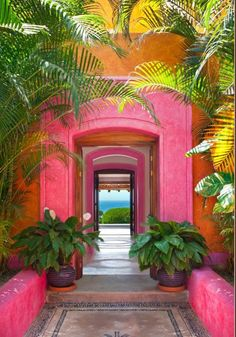 Gorgeous mix of colours of an entrance in Las Alamandas, Jalisco, Mexico. Shop our beachwear collection at matthewwilliamson.com
