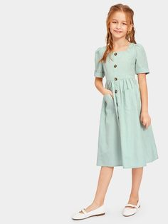 - Girls Zip Back Pocket Front Square Neck Shirt Dress Outfits Teenager Mädchen, Teen Girl Outfits, Little Girl Outfits, Edgy Outfits, Little Girl Fashion, Kids Outfits, Kids Fashion, Girls Casual Dresses, Dresses Kids Girl