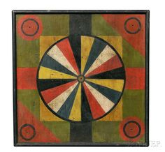 Sold for: $30,750 Painted Game Board, America, late 19th century, the checkerboard with beaded border and a painted band of circles, rectangles, and diamonds, with applied rounded frame, the obverse with a pinwheel design bordered by panels with circle spandrels in red, yellow, green, and black, (paint loss), 19 x 18 3/4 in.  Estimate $600-800