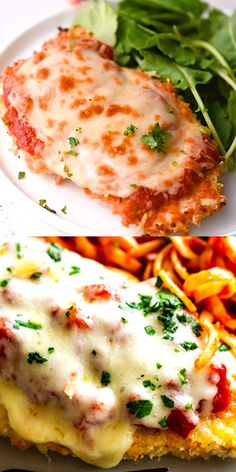 This delicious Oven Baked Chicken Parmesan recipe is easy and doesn& require any frying. Because this chicken Parmesan is baked, it is healthy, quick and easy! Make this crispy baked Parmesan crusted chicken for dinner tonight in about thirty minutes! Baked Parmesan Crusted Chicken, Chicken Parmesan Recipes, Best Chicken Recipes, Recipe Chicken, Parmesan Salmon, Baked Salmon, Coconut Chicken, Crispy Chicken, Recipes With Mozzarella