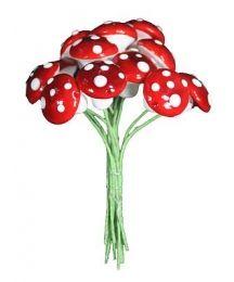 12 Medium Spun Cotton Mushrooms from Germany ~ 14mm Ruby Red