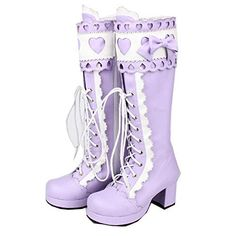 Got to have Purple Heel Knee-High Round-Toe Lolita Cosplay Boots Mid Heel Shoes, High Heel Boots, Heels, High Shoes, Lolita Shoes, Lolita Dress, Cute Shoes, Me Too Shoes, Purple Boots