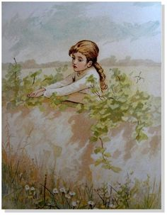 "Children's/Antique/Prints/ Ida Waugh  ""In the Meadow"" Chromolithograph -Date1888 #Vintage127yearsold"