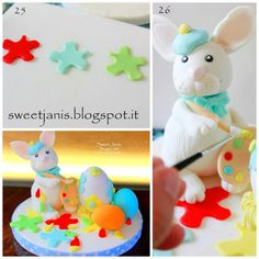 Easter bunny... the artist (Tutorial) - CakesDecor