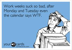 Funny Weekend Ecard: Work weeks suck so bad, after Monday and Tuesday even the calendar says WTF.