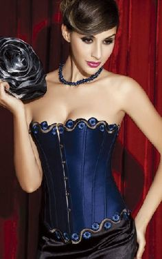 df8eccde6c358 Sexy Gothic Style Blue Strapless Embroider Corsets Special Occasion  Shapewear Waist Cincher