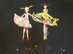 reminds me of my sister and I when we were young!Rejoice by Kim Schuessler Create Collage, Human Emotions, Heart Art, Figure Painting, Creative Inspiration, Les Oeuvres, Foyer, Art Pieces, Illustration Art