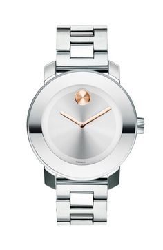 Free shipping and returns on Movado 'Bold' Round Bracelet Watch, 36mm at Nordstrom.com. A mirrored bezel frames the numberless sunray dial of an ultra-modern watch paired with a sleek, dual-finished bracelet. The museum dot at 12 o'clock gives a signature finish.
