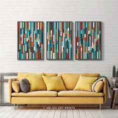 Three Piece Mid Century Abstract Watercolour in Turquoise, Teal, Orange, Brick Red, Gray and Olive Green Etsy Wall Art, Wall Art Prints, Lovers Art, Watercolor Wall Art, Wall Art Designs, Abstract, Abstract Watercolor, Black And White Clouds, Conversation Piece