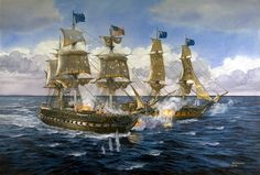 """""""Lady Luck Was An American,"""" by Tom Freeman. """"USS Constitution"""" vs. """"HMS Guerriere"""" on Aug.19, 1812."""